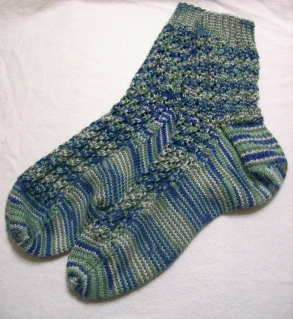 hand knit socks made for April Garwood of Banana Moon Studio by her mom