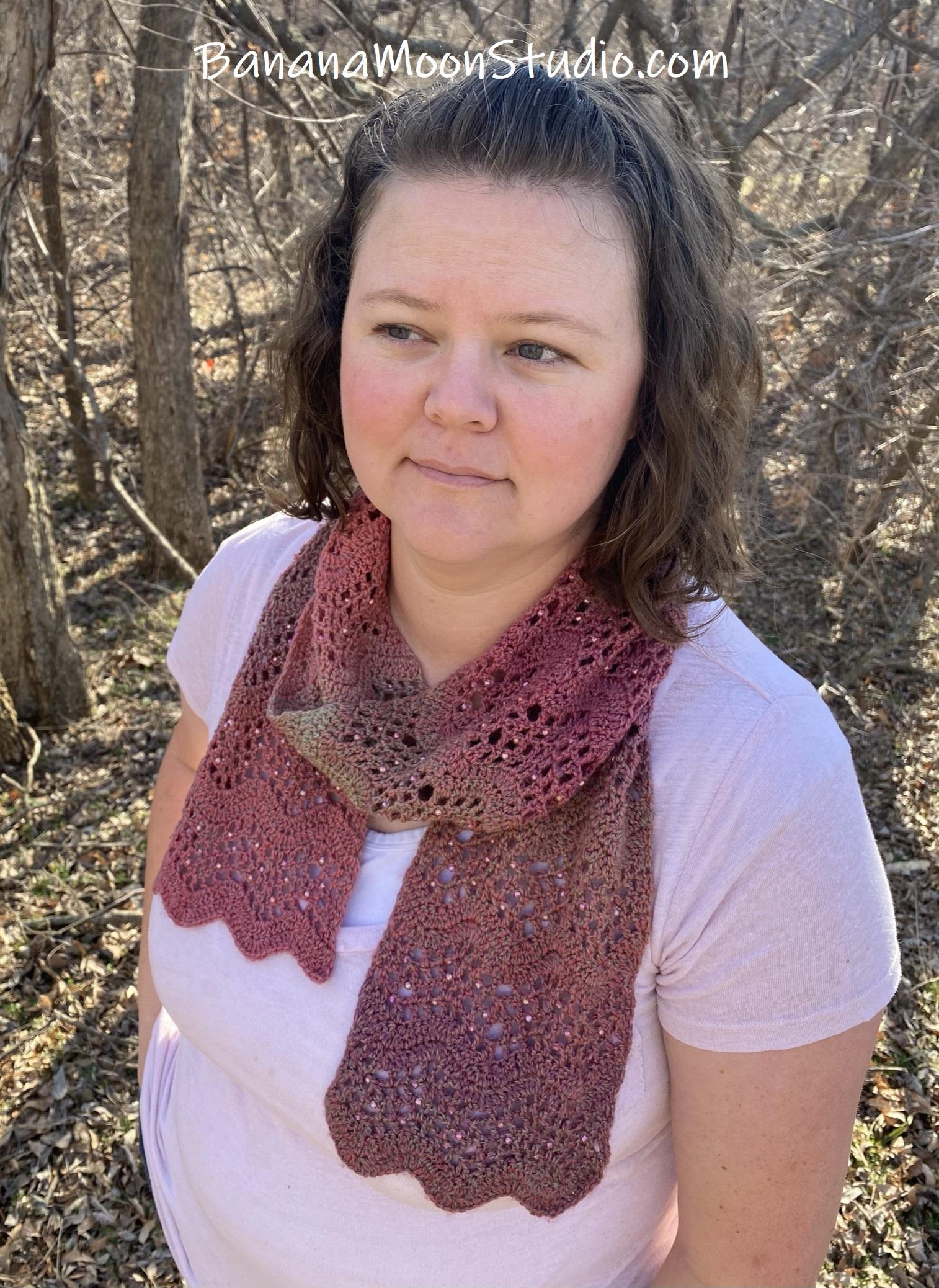 beaded crochet scarf pattern from Banana Moon Studio