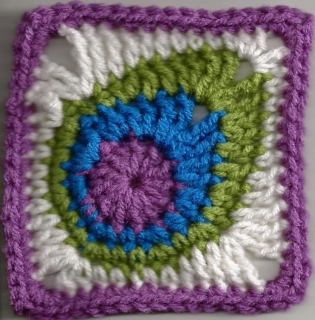 Peacock Feather Afghan Square in Crochet, a free pattern by April Garwood of Banana Moon Studio