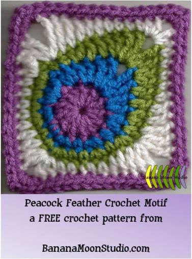 Peacock Feather Crochet Motif, free crochet pattern from Banana Moon Studio