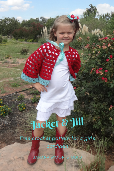 Free crochet pattern for a girls cardigan, from Banana Moon Studio
