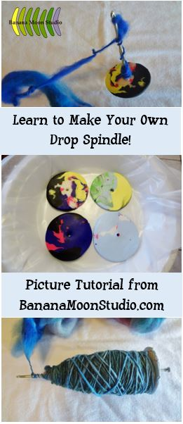 Learn to Make a Drop Spindle from Clay and a Crochet Hook, picture tutorial from Banana Moon Studio