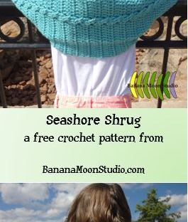 Cabled girls shrug free crochet pattern from Banana Moon Studio