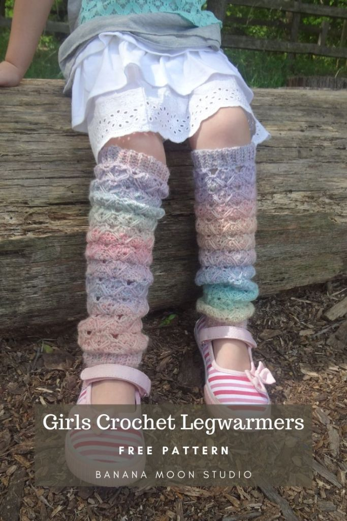 Crochet leg warmers pattern child in pastel rainbow color from Banana Moon Studio