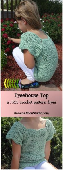 FREE crochet pattern for a girls sweater, from Banana Moon Studio