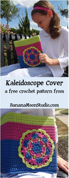 Free crochet pattern for a custom book cover, from Banana Moon Studio
