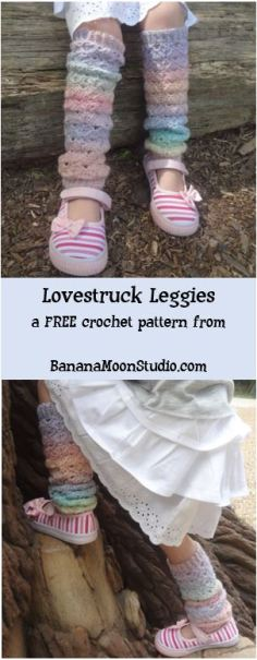 Little girls crochet legwarmers, FREE crochet pattern from Banana Moon Studio
