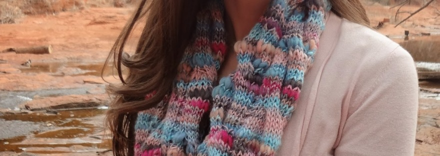 Coral Current Cowl knitting pattern, a cable knit infinity scarf pattern from Banana Moon Studio