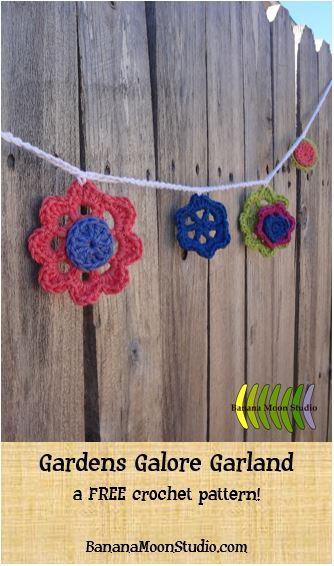 Floral garland crochet pattern from Banana Moon Studio! FREE pattern!