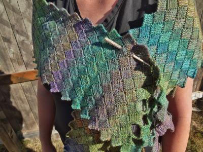 Prototype for the Rosalie Wrap Tunisian entrelac crochet pattern by April Garwood of Banana Moon Studio