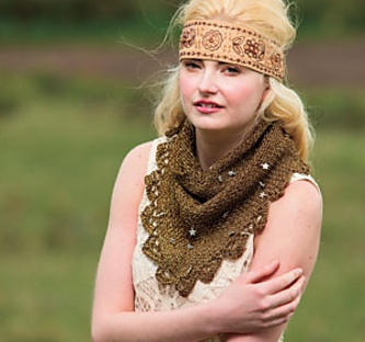 Bitterbrush Bandit, a Crochet Bandit Scarf with Bling, pattern by April Garwood of Banana Moon Studio, available from Interweave