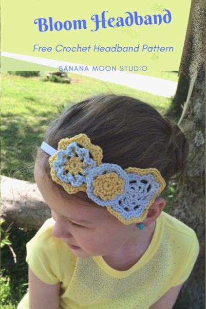 Free crochet headband pattern with flowers, from Banana Moon Studio