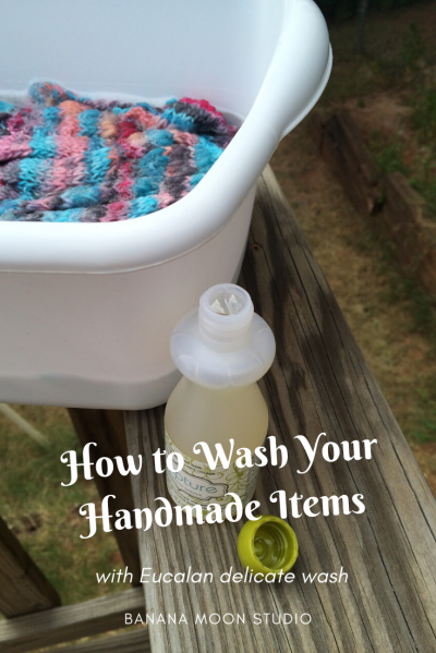 How to wash handmade items with Eucalan, tutorial from Banana Moon Studio