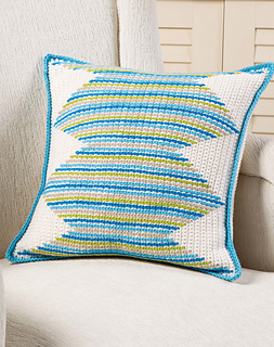 Crochet pillow case with surface crochet. Pattern by April Garwood of Banana Moon Studio.