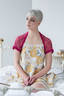 Crochet shrug pattern in puff stitch by April Garwood of Banana Moon Studio, for Interweave Crochet
