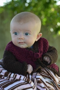 Crochet pattern for a classic baby sweater, by April Garwood of Banana Moon Studio