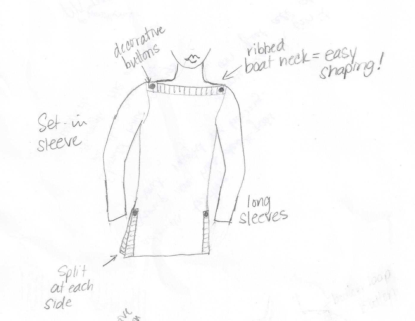 Waddle stitch sweater sketch 001