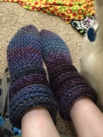 Slouchy Slipper Boots in Red Heart Boutique Unforgettable, crocheted by April Garwood of Banana Moon Studio