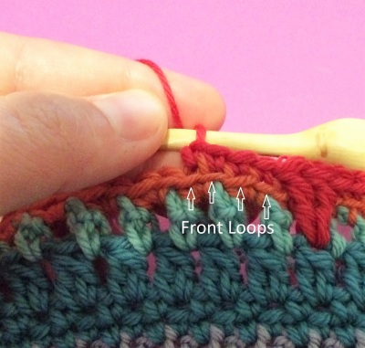 How to crochet in the back loop of a stitch, a tutorial by April Garwood of Banana Moon Studio