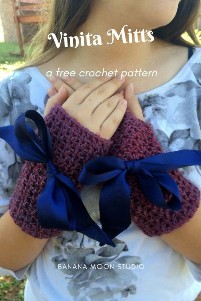 Vinita Mitts, a free crochet pattern for women's fingerless gloves from Banana Moon Studio