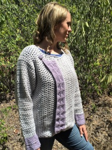 Crochet pattern for a women's cardigan, by April Garwood of Banana Moon Studio