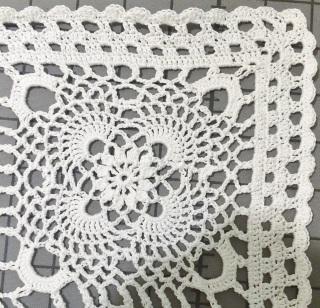 lace table runner made by April Garwood of Banana Moon Studio