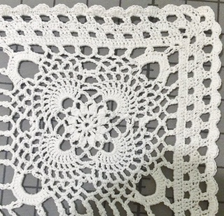lace table runner made by April Garwood of Banana Moon Studio