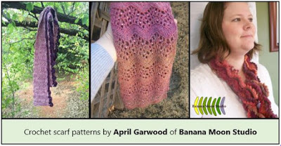crochet patterns for scarves by April Garwood of Banana Moon Studio