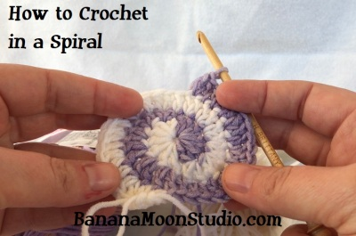 How to Crochet in a Spiral, a tutorial by April Garwood of Banana Moon Studio