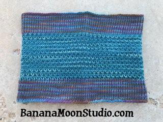 Tunisian crochet cowl, featuring Tunisian smock stitch, free crochet pattern by April Garwood of Banana Moon Studio