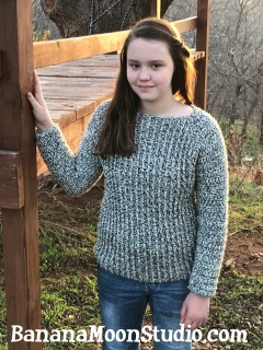 Crochet sweater pattern, crochet sweater in chunky yarn, crochet pattern by April Garwood of Banana Moon Studio
