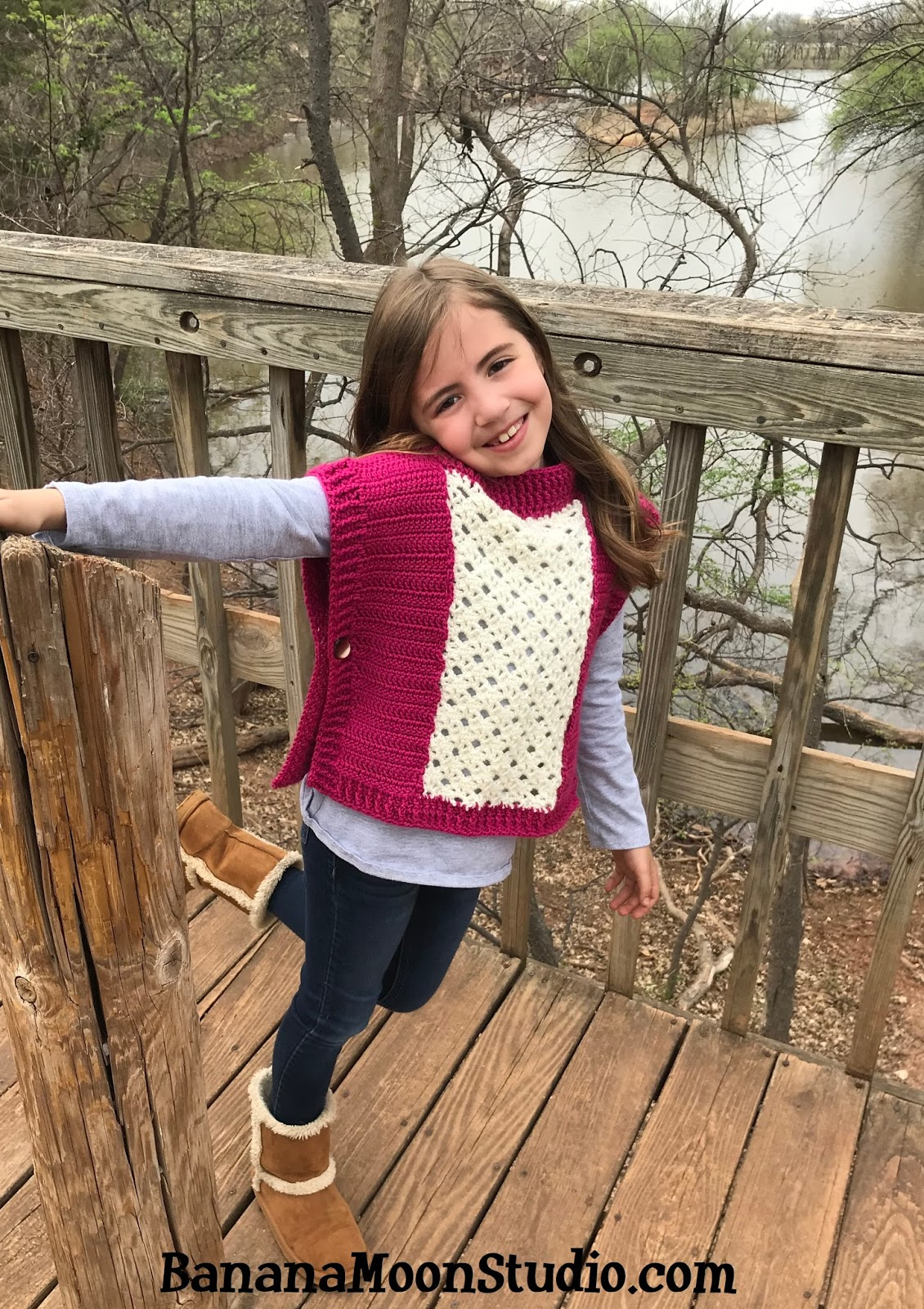 Free Crochet Pattern For A Girls Poncho Roland Poncho Banana Moon