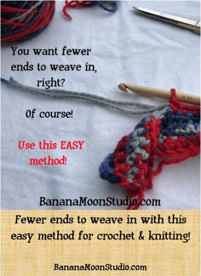 Fewer ends to weave in with this easy method for crochet and knitting, from Banana Moon Studio