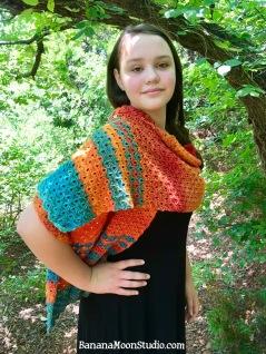 Free crochet pattern for a wrap or shawl, by April Garwood of Banana Moon Studio