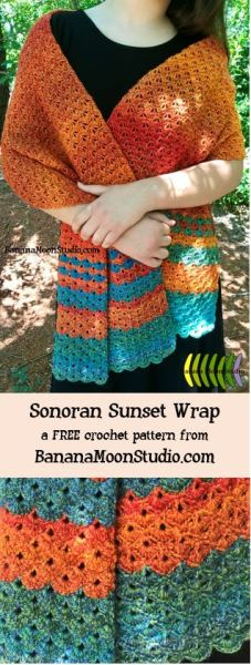 Free crochet pattern for a wrap or shawl from Banana Moon Studio