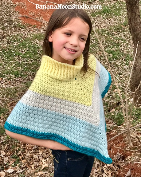 Crochet pattern for a girls poncho in sizes 2-10. Pattern by April Garwood of Banana Moon Studio