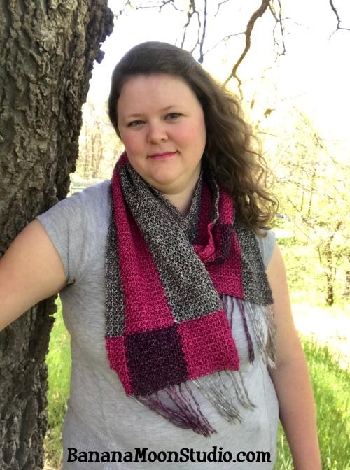Plaid scarf free crochet pattern by April Garwood of Banana Moon Studio