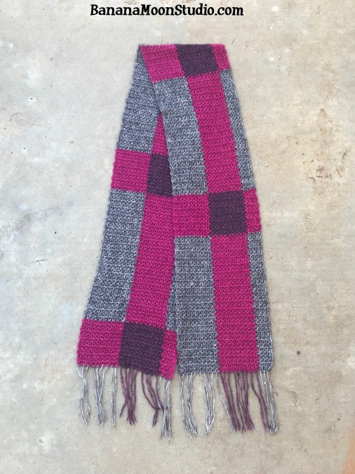 Plaid scarf free crochet pattern by April Garwood of Banana Moon Studio