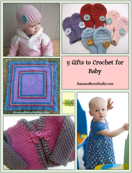 Baby shower gifts to crochet, crochet patterns by Banana Moon Studio