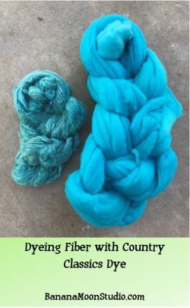 Dyeing fiber with country classics dye, a video from Banana Moon Studio
