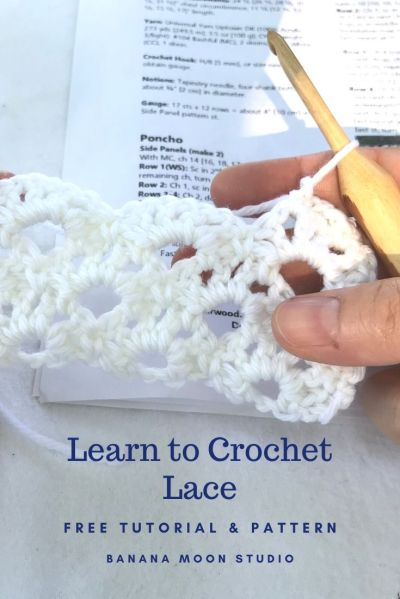 Learn to Crochet Lace. Free tutorial and pattern from Banana Moon Studio