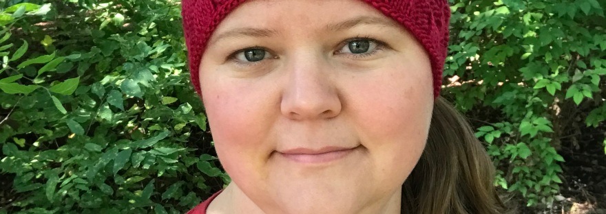 Yukon Headband, a free knitting pattern for fall and football season, from Banana Moon Studio