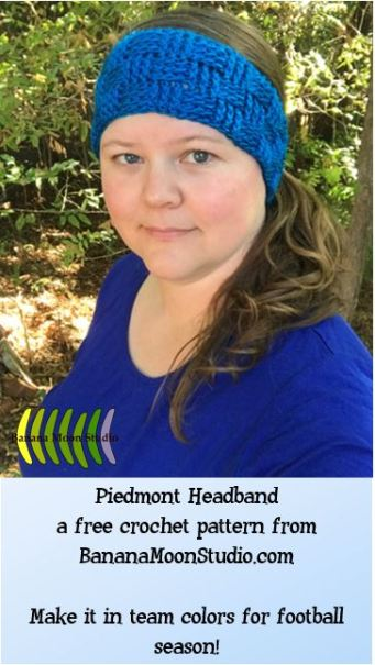 Piedmont Headband, a free crochet pattern for fall and football season, from Banana Moon Studio