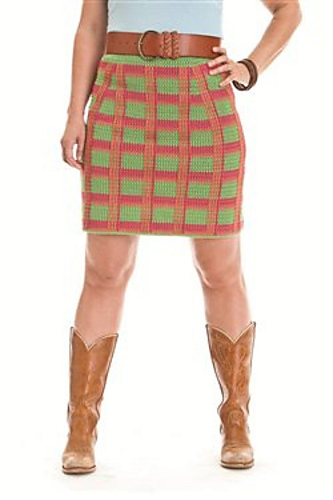 Crochet this plaid skirt! Design from Banana Moon Studio for Interweave Crochet