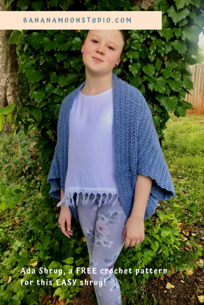 Women's crochet shrug, free, easy pattern from Banana Moon Studio