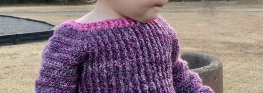 Pryor Creek Jr, FREE crochet pattern for a baby sweater from Banana Moon Studio