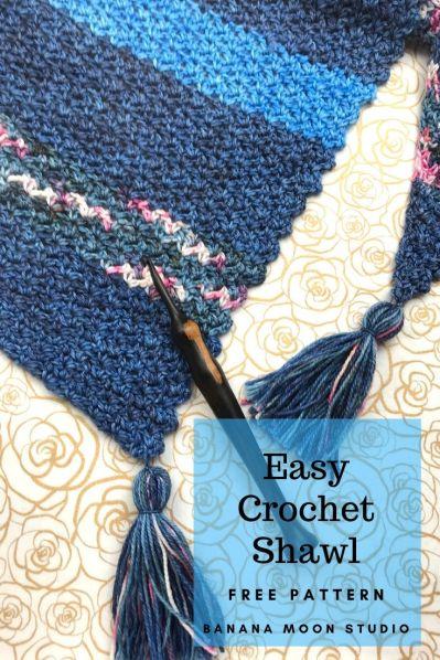Easy Free Crochet Shawl pattern from Banana Moon Studio.
