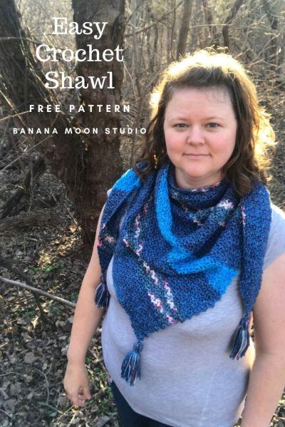 Easy Free Crochet Shawl pattern from Banana Moon Studio