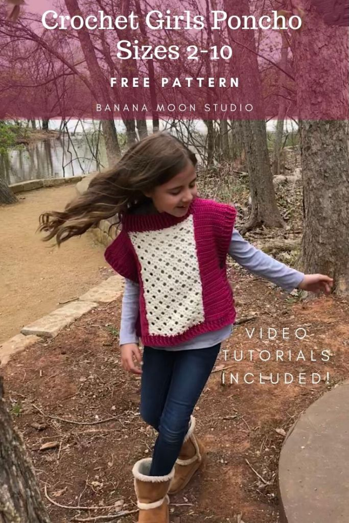 Free crochet pattern for a girls poncho from Banana Moon Studio #crochetponchoforgirlsfree