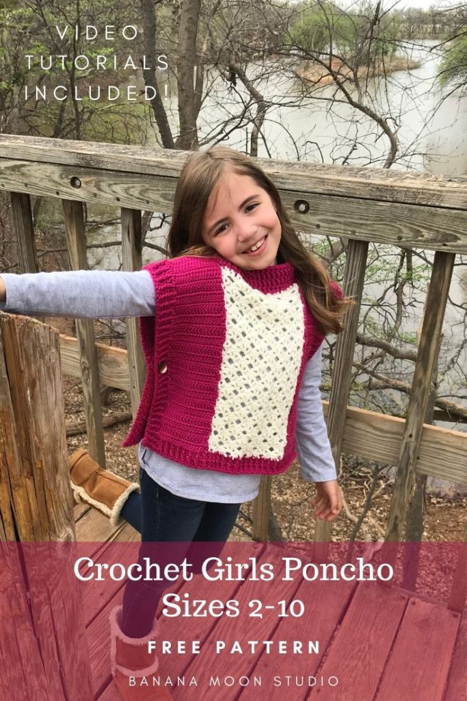 Free crochet pattern for a girls poncho from Banana Moon Studio #girlsponchocrochetpatternfree